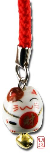 Mobile phone and bag charm (cp21) Maneki Neko Lucky Cat - Wealth